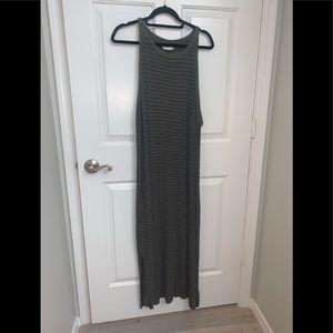 Universal Threads Army Green Striped Maxi Dress